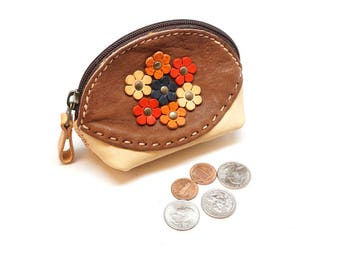leather coin purse with flower, coin wallet, coin bag hand stitch, leather key bag, minimalist leather pouch, mini coin bag, small bag