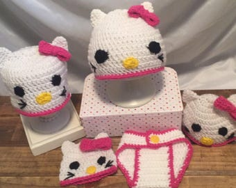 Hello kitty crochet hat and diaper cover