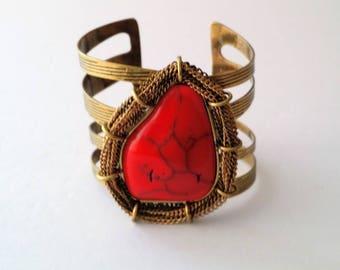 Vintage Gold Tone Faux Stone Cuff Bracelet