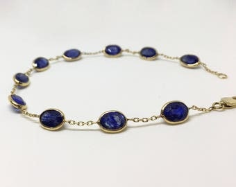 14kt Yellow Gold Natural Sapphire Open Link Bracelet, Appraised 1,818 USD