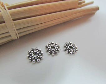 10 spacer beads 8 x 2 mm antiqued silver plated - 2 mm hole - 302.34