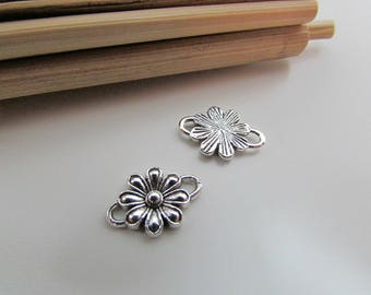 10 connector flower 15 x 10 mm metal antiqued silver plated - 2 mm hole - 110.18