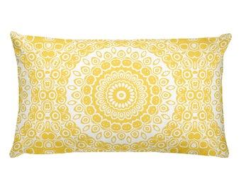 Mustard Yellow Pillows, Yellow and White Mandala Design Rectangle Cushion, Decorative Throw Pillow, 20x12 Lumbar Pillow