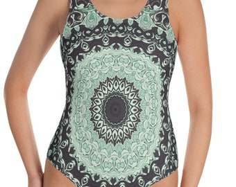 Earthy Mandala Swimsuit, One Piece Bathing Suit for Women, Festival Bodysuit, Ladies Swimwear