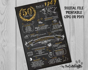 50th Birthday Gift, Birthday Chalkboard, Poster Sign Party Decoration , Poster Ideas, What happened in 1967, born made in 60s, Digital File