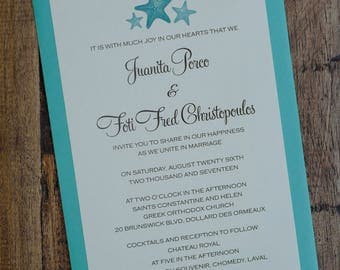 Palm Tree Invitation, Starfish Wedding Invitation, Destination Invitations,  Palm Tree Wedding Invitations,