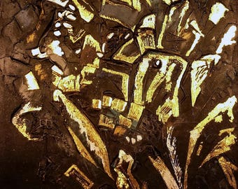 BLACK DIAMOND; Big abstract painting with deep texture details, Used Gold Leaf 24K