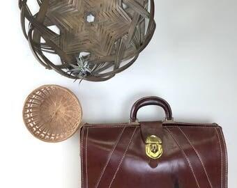 Vintage Cognac Brown Acorn Brand Leather Briefcase