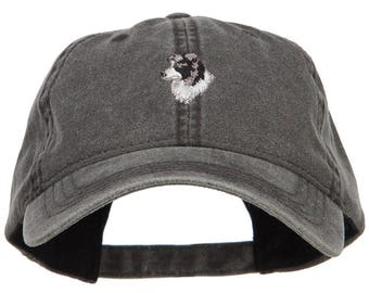Border Collie Head Embroidered Washed Cap