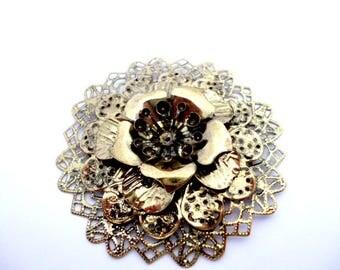 "Large Brass Filigree Flower Metal Charm_IL05715487/6041_Metal Flowers Hat Clutch making of 65 mm / 2,55"" _ pack 1 pcs"
