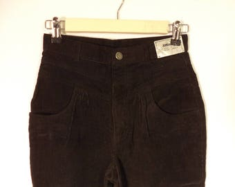 80s Jordache corduroy high waist NEW pants// Dead stock NWT vintage// Black pleated tapered skinny// Women 2-3 XS small 25 26 W 12 juniors