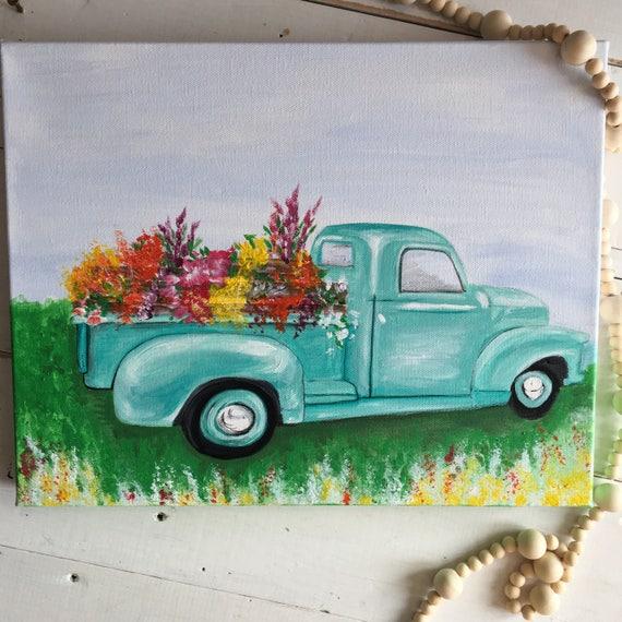 Vinatge Farm Flower Truck Painting Fresh Flower Vintage Truck