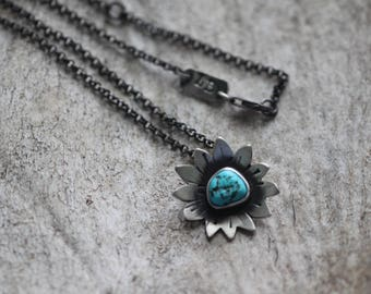 Turquoise Nugget Wildflower Necklace No. 3 - Flower Necklace - Turquoise Necklace - Artisan Necklace - Sleeping Beauty Turquoise Necklace