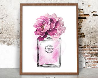 Perfume Bottle Print, Fashion Illustration, Watercolour Flowers, Printable Digital Download, Large Poster Print, Vintage Chanel No5 Inspired