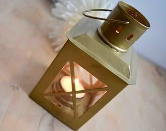 Gold Small Metal & Glass Lantern