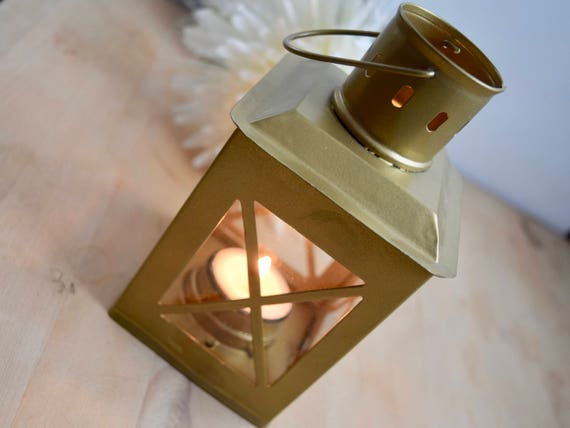 "Gold 6"" (from chimney) metal, glass, lantern, tea light holder, candle holder, table center piece, celebration"