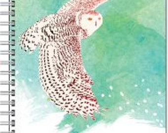Note book, personal journal, lined or not, personalized or not for free; snowy owl in flight, snow owl, white owl