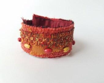 Beaded Cuff Bracelets, Cuff Bracelet, Orange Cuff Bracelet, Bracelet Cuff, Boho Bracelets, Bohemian Bracelets, Bohemian Beaded Bracelets