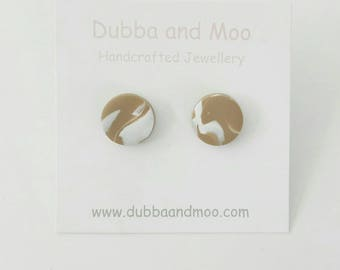 Handcrafted Polymer Clay Stud Earring Caramel and White