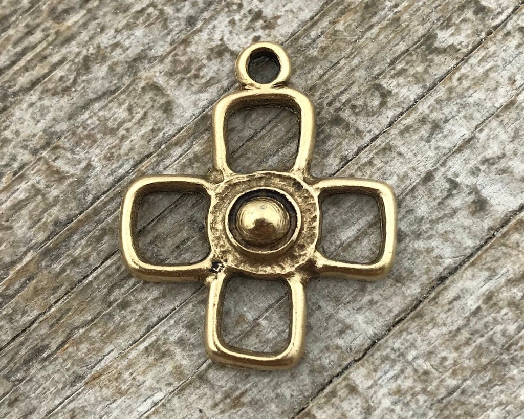 cross halo cluster diamond gold block pendant square real yellow pnd
