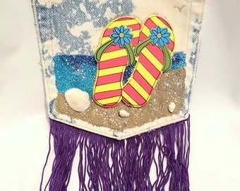Beachy Jean Pocket Purse Decorated With Flip Flops and Glittery Sand, Long fringe Makes it Fun