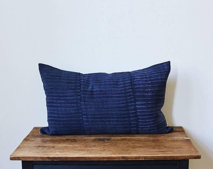 "Vintage Japanese indigo fabric pillow 16"" x 26"""