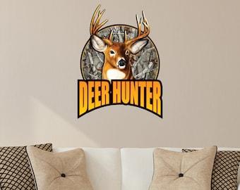 Deer Hunting Wall Decals - Deer Hunter Logo - Camo Wall Decal - Camo Vinyl Graphic - Buck Deer Sticker White Tail