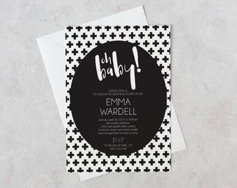 Oh Baby Shower Invitation, Baby Shower Invitations Gender Neutral, Black and White Baby Shower Invitation