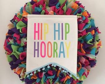 Birthday Wreath, birthday party wreath, kids birthday, celebration, rag wreath, party, fun, front door wreath, party decoration, Colorfull