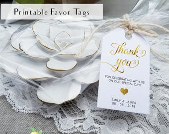 Printable gold foil favor tags, editable personal favor tag, gold wedding tags, gold wedding décor, thank you gift, printable gold favor tag