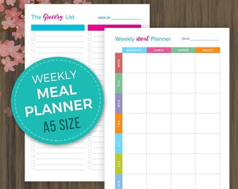 A5 Meal Planner, Printable Weekly Menu Planner, A5 Grocery List, Shopping List, A5 Planner Inserts, Filofax, Kikki K,A5 Filofax Inserts