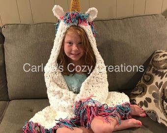 Unicorn blanket, hooded unicorn blanket, crochet unicorn blanket, child unicorn blanket, adult unicorn blanket