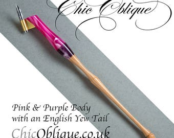 Oblique pen holder, Pink and Purple pearlised Resin with English Yew Tail