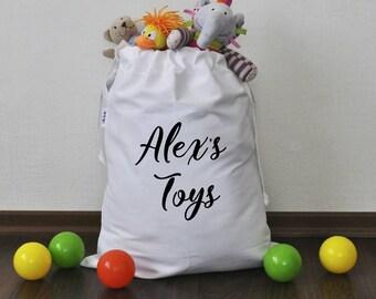 Personalized bag for toys Personalized toy sack Toy organization Stuffed animals storage Storage basket Nursery storage Toy storage