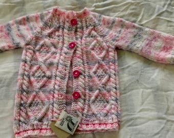 Hand knit baby  girlsweater