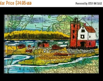 SALE Vintage MICHIGAN Map Round Island Lighthouse Light House Colored Pencil Coastal Art Print By Scott D Van Osdol 11x17 Poster Of My O