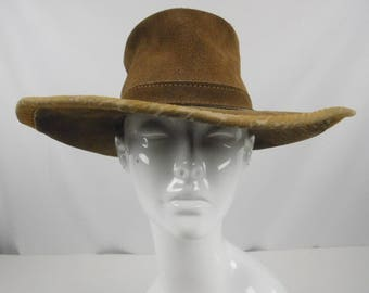 Skullys by Henschel of St Louis Suede Leather Brown Hat Cowgirl Western Boho Hippie Hipster Small