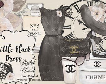 Watercolor Fashion Clip-art, Chanel Black Dress Clip-art, Chanel Clipart, Fashions Black and White Dress, Hat, Hatboxes,. No. WC94