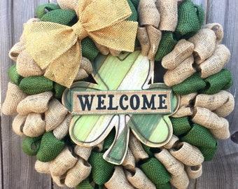 Burlap wreath, lucky burlap wreath, St. Patrick's Day wreath, green burlap wreath, welcome wreath, burlap welcome