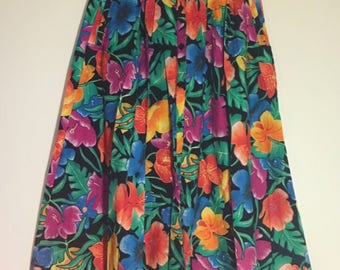Tropical 90s Skirt- Bechamal- Size Large- 100% cotton