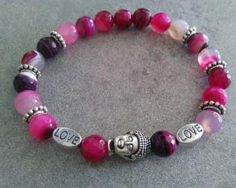 "Energized ""Anchor and luck"" bracelet in pink striped Agate, pearl beads Love and zen Buddha"