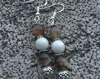 Energetisees earrings, Protection, fertility, pregnancy, feminine Moonstone