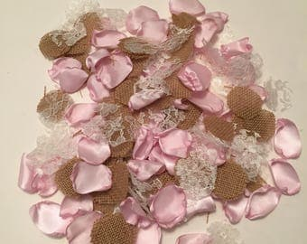 Pink Rustic Rose Petals/Pink Flower Girl Petals/Country Wedding Petals/Pale Pink Satin Petals/Satin Rose Petals/Light Pink Petals