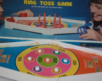 Blue Box Ring Toss Vintage Game Toy Childrens Retro