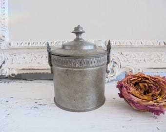 Vintage tin box old tin can sugar bowl