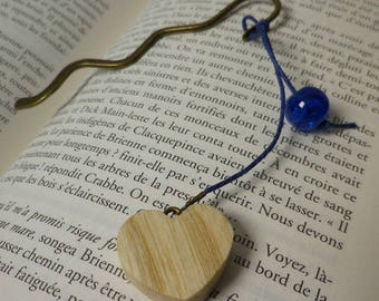 Bookmarks wooden heart and blue cracked glass bead