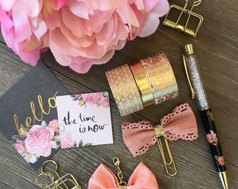 Peach with Gold Polkadots Bow Planner Clip TN Charm