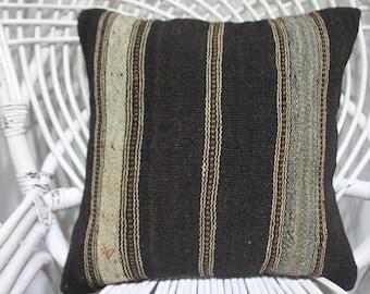 vlack kilim pillows stripe kilim black and white kilim pillow 16x16 kilim cushion 16x16 bohemian throw pillows 16x16 throw pillow 4041