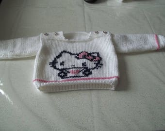 kind sailor sweater 0/3 months - knitted made-hand drawing with hello kitty
