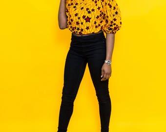 ON SALE, Ankara top, Off shoulder top, african print top, floral print top, top, blouse, crop top, midriff top